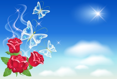 clear blue sky: Roses and butterflies in the sky Illustration