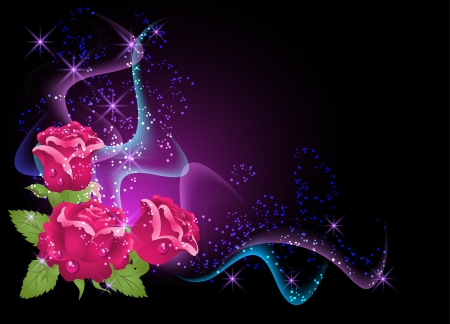 Glowing background with roses, smoke and stars Stock Vector - 9611793