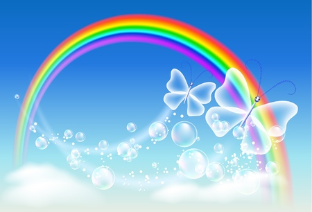 Butterfly, clouds, bubbles and rainbow Stock Vector - 9611791