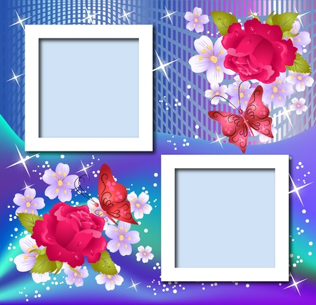 Design photo frames with flowers and butterfly Stock Vector - 9611790