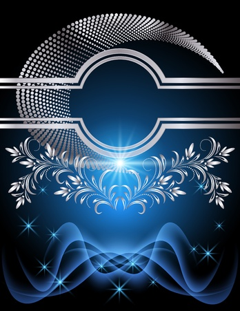 Background with glowing stars, silver ornament and smoke Vector