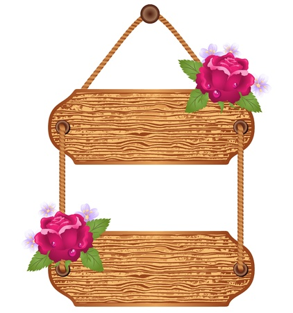Wooden signboard with roses for text