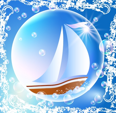 Sailing boat and bubbles in grunge frame Vector