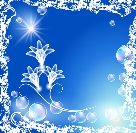Background with transparent flowers and bubbles in grunge frame Vector