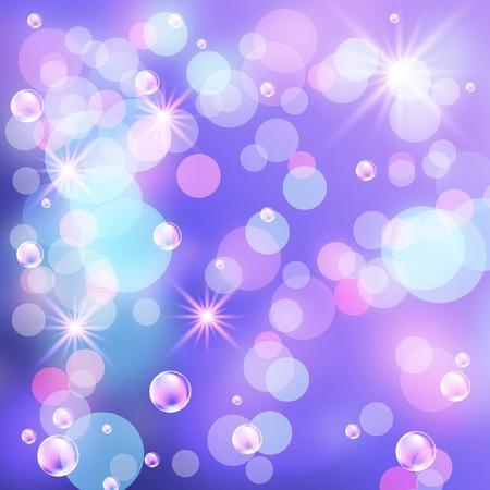 Glowing bokeh, bubbles and stars photo