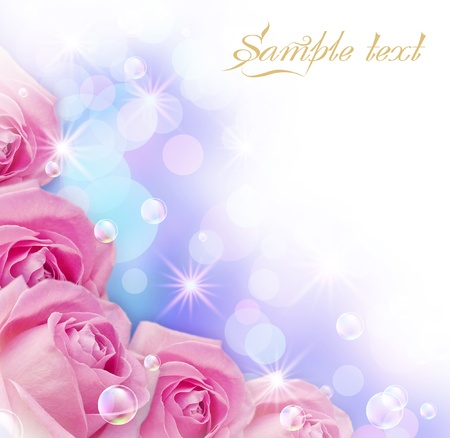 Card with roses, bubbles and stars photo
