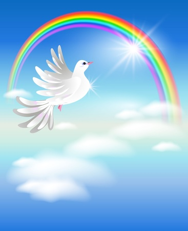 rainbow sphere: Pigeon flies to the rainbow in the clouds Illustration