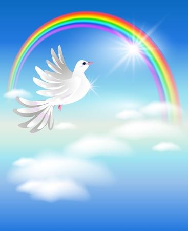 pigeons: Pigeon vole vers l'arc en ciel dans les nuages
