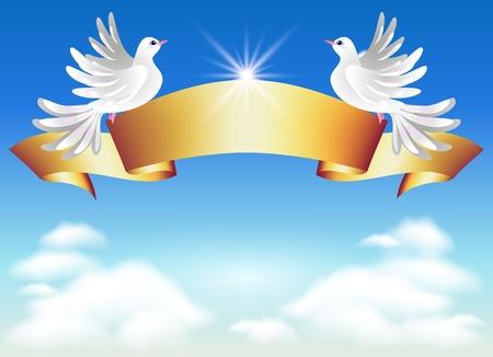 pigeons: Colombes dans les nuages et le ruban dor� Illustration
