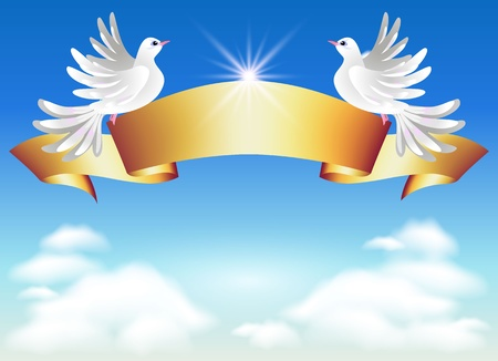 Doves in the clouds and golden ribbon Stock Vector - 9657867