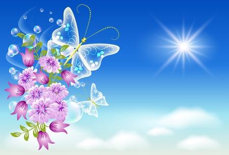 point chaud: Fleurs et papillons dans le ciel.