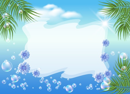 Seascape with palm branches, bubbles, flowers and place for  an inscription Vector