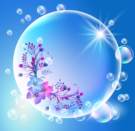 Bubbles with flowers ornament Vector