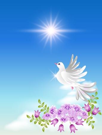 Paloma en las nubes y sol Ilustración de vector