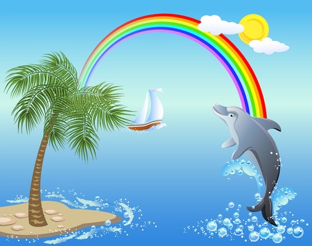 hopping: Dolphin leaps from water on the background of rainbow, sailboat and palm