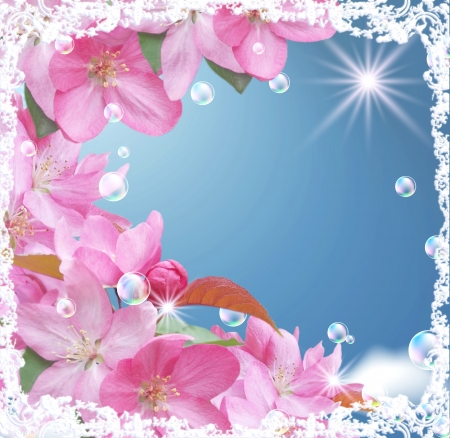 Card with peach blossom, bubbles and stars Stock Photo - 9809832