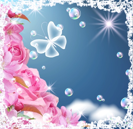 Card with flowers, butterfly and bubbles  photo