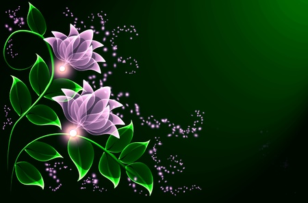 Transparent flowers and stars for various design artwork photo