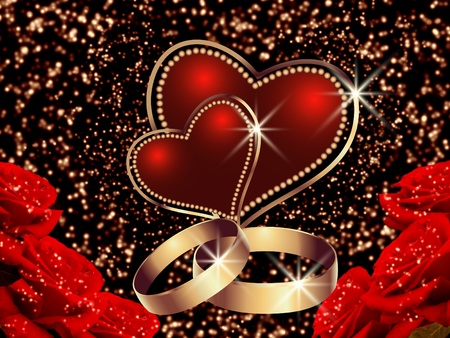 Abstract glowing background with roses, wedding rings  and heart photo