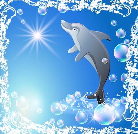 Dolphin in the bubbles in grunge frame Vector