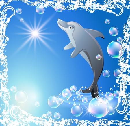 delfin: Dolphin w bÄ…belki w grunge ramki
