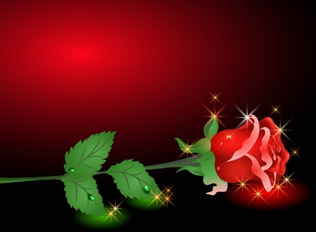 dewdrops: Glowing background with rose and stars