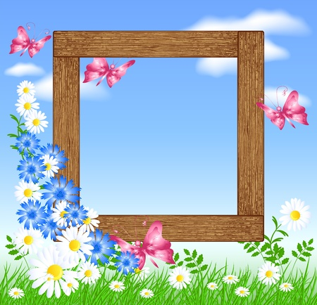 Design wooden photo frames with flowers and butterfly  Vector