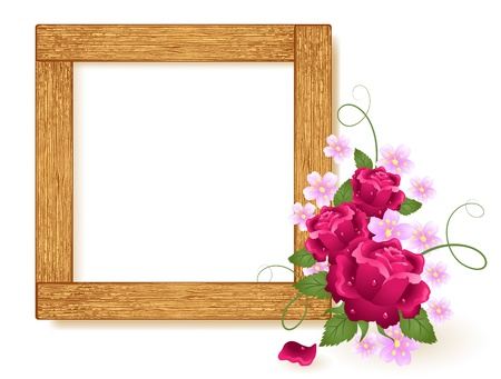 wooden insert: Design wooden photo frames with roses Illustration