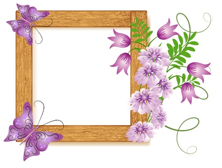 shone: Design wooden photo frames with flowers and butterfly Illustration