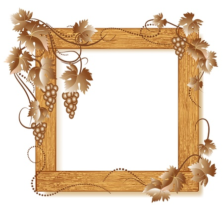 Design wooden photo frames with grapes Vector