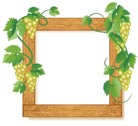 Design wooden photo frames with grapes Stock Vector - 9810116