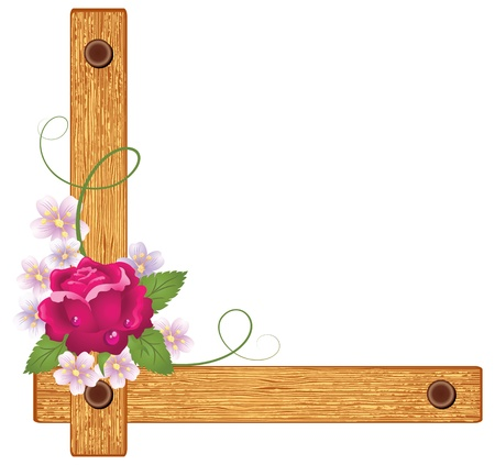 corner ornament: Wooden corner with rose  Illustration