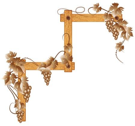 Coin en bois avec des raisins