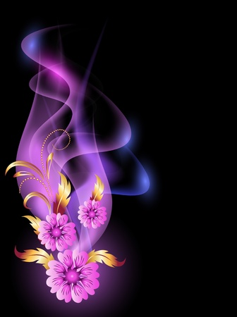 Glowing background with smoke and golden ornament Vector
