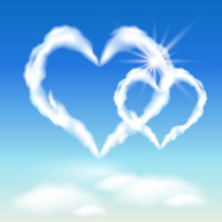 corazones azules: Corazones de nubes en el cielo y la luz del sol Vectores