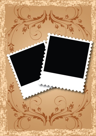 grunge photo frame: Album di foto di layout di pagina con fiori Vettoriali