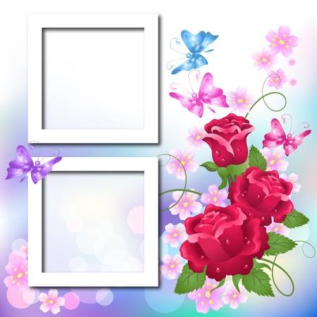 Álbum de fotos de diseño de página con rosas y mariposa