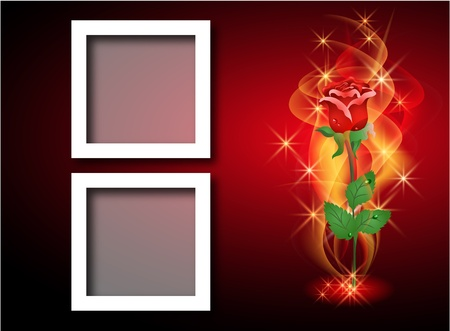 Page layout photo album with roses, smoke and stars Vector