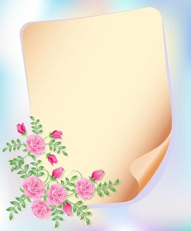 Bouquet de rosas y papel para el texto