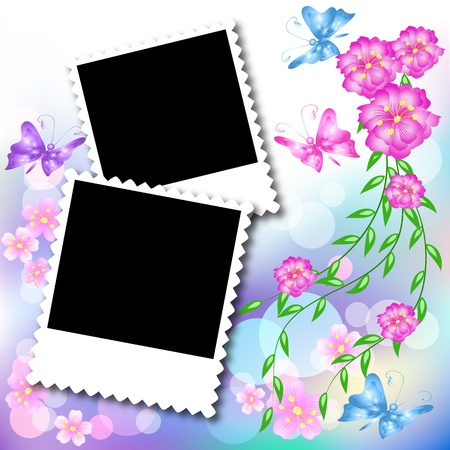 Page layout postcard with flowers, butterfly for inserting text or photo Stock Illustratie