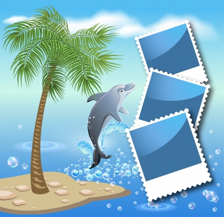 Palm, dolphin and photo frame Vector