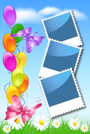 photo shoot:  Balloons, butterfly, flowers and photo frame