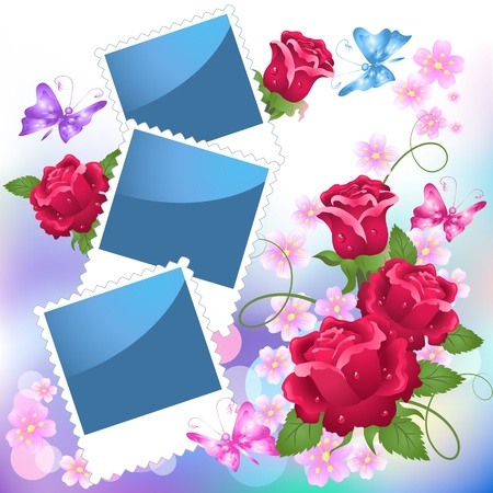 Page layout photo album with roses and butterfly Stock Vector - 9810220