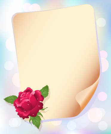 Roses and paper for your text Vector
