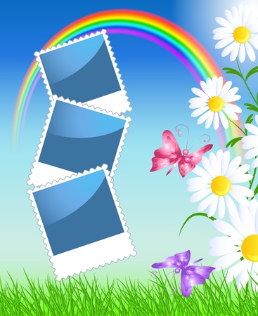 photo shoot: Page layout photo album with camomiles, rainbow and butterflies Illustration
