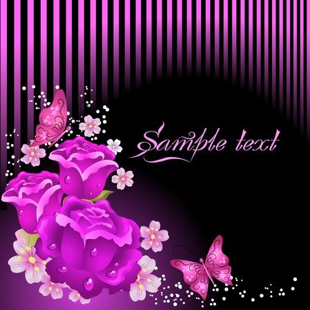 Stilisierte Karte mit Rosen und Schmetterlinge