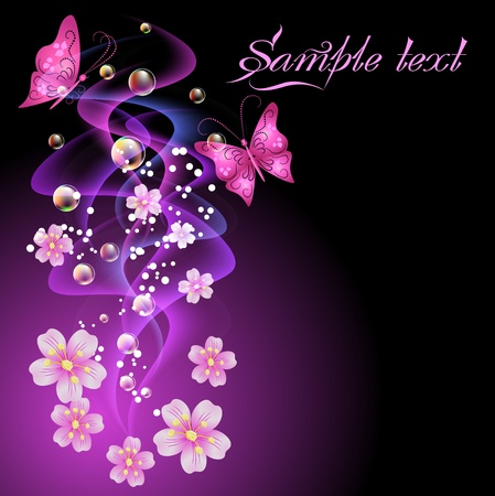 Glowing background with smoke, flowers, butterflies and bubbles Vector