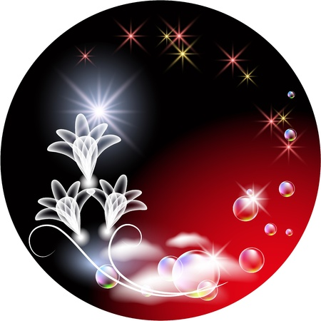 evening glow: Glowing background with transparent flowers and bubbles