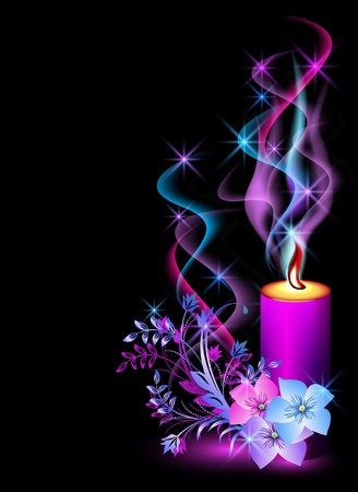 Burning candle, smoke, stars and flowers Vector