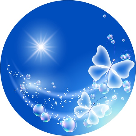 flecks: Sky, bubbles  and  butterfly. Symbol of ecology clean air Illustration
